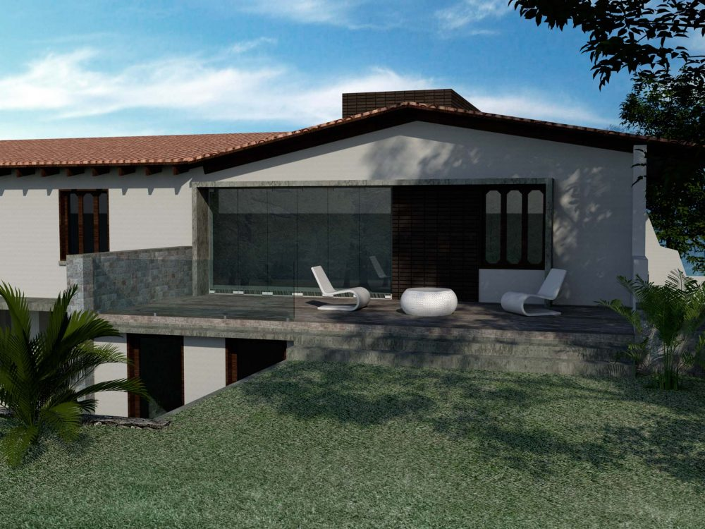 aleroarquitectura-remodelacion-casa-l3-fachada-jardin-terraza-sala-tv-vista-3d