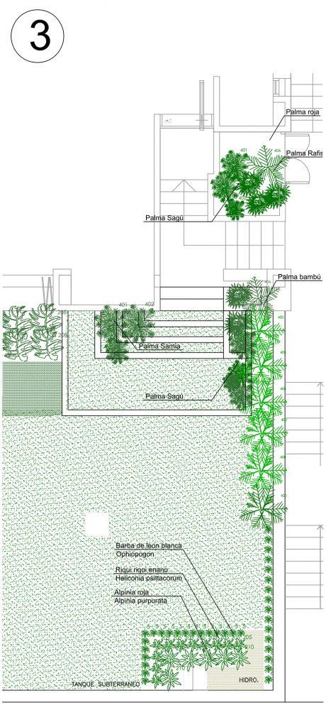 Plano de plantío de la zona 3 del proyecto de paisajismo de la casa t