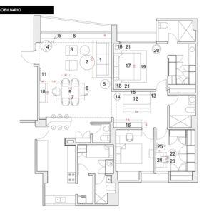Planta de ubicación del mobiliario seleccionado para la decoración del apartamento en Campo Alegre