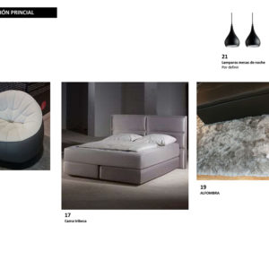 Selección de mobiliario para la habitación en el apartamento en Campo Alegre; poltrona puff, lámparas colgantes negras, cama tribeca y alfombra gris