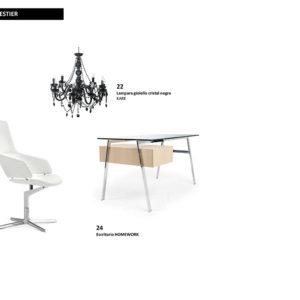 Selección de mobiliario para el estudio-vestier en el apartamento en Campo Alegre; escritorio homework, lámpara gioello cristal negra y silla de escritorio blanca