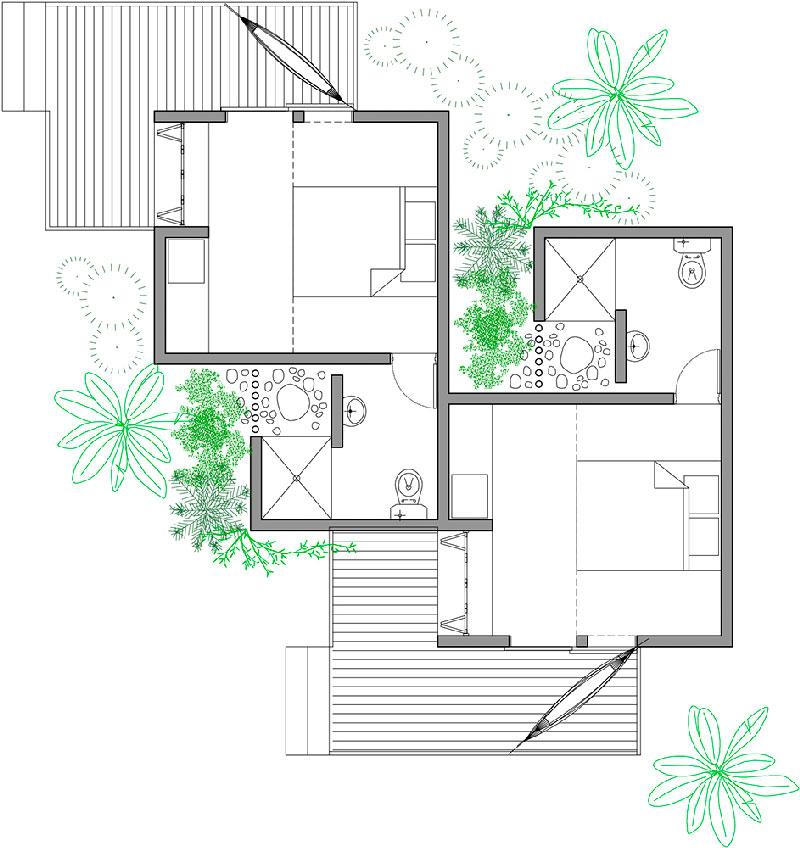 Plano de planta de las habitaciones de la casa-posada en Choroní